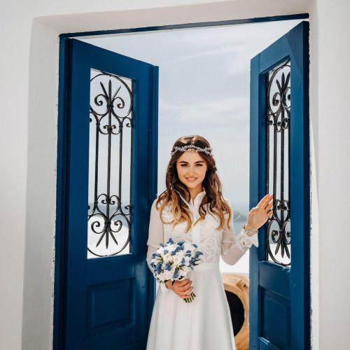 church wedding ceremony in Santorini