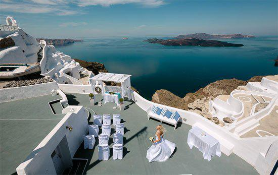 Romantic wedding in Greece Santorini